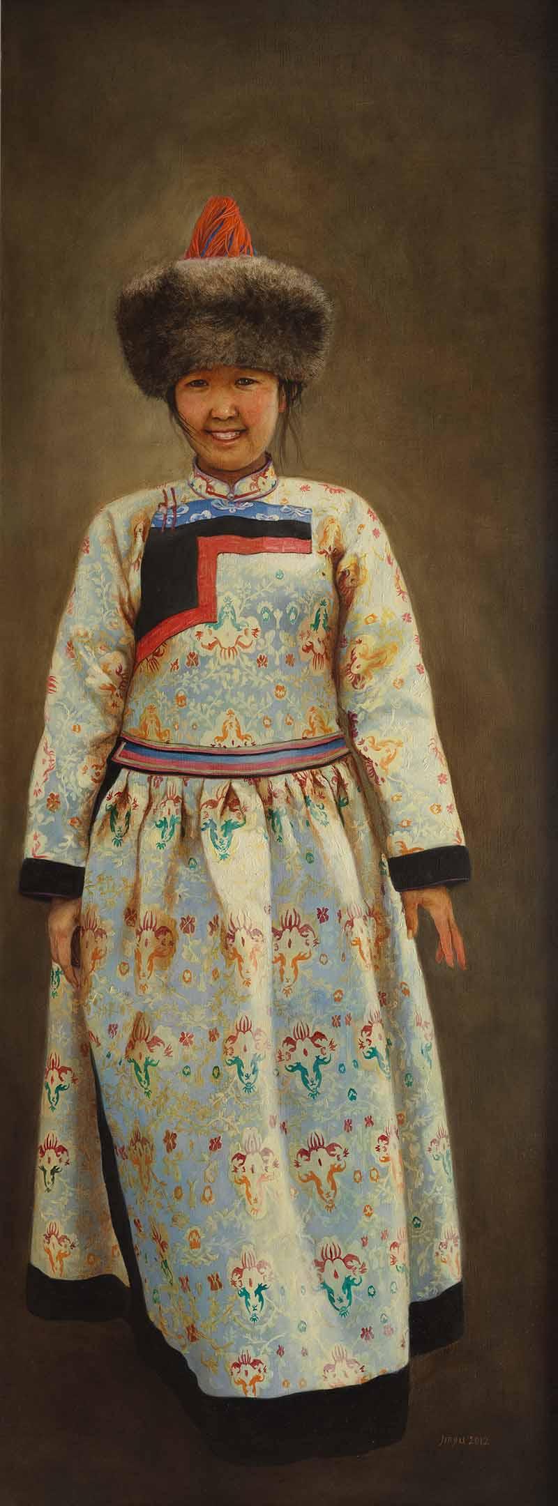 布里亚特少女    120X45CM    2012年    布面油画