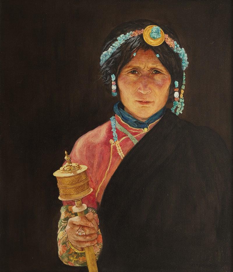 金玉 藏民肖像 60x70cm 2012年 布面油画