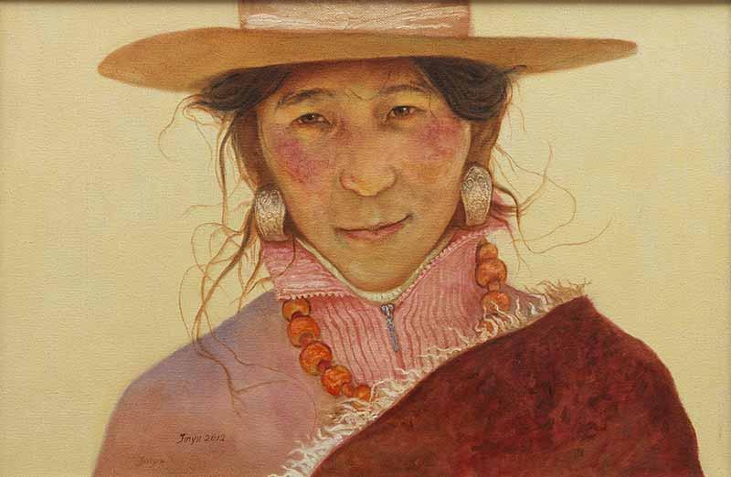 藏民表情之宛然一笑    40X60CM 2012年    布面油画