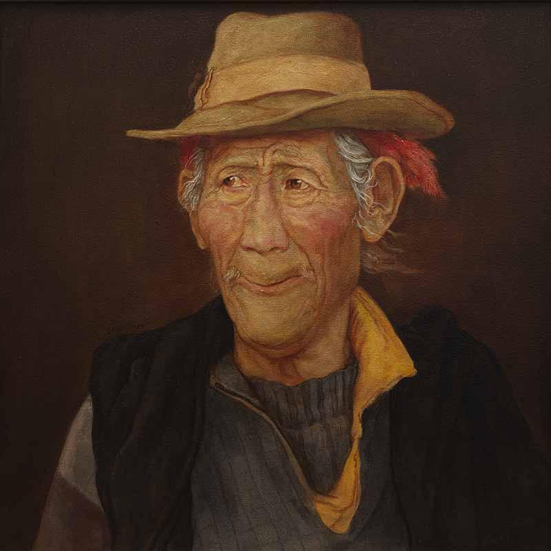 藏民表情之神采奕奕    60x60cm    2012年    布面油画